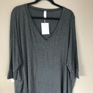 3/4 Sleeve V-Neck Top - Charcoal / Maternity